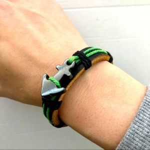 Nautical Leather and Cord Bracelet